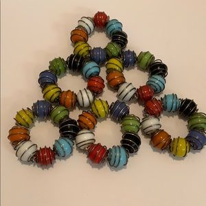 Napkin Rings Set of 6 Glass Multicolor Wired twirl